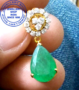 Emerald Earring Designs with Diamonds