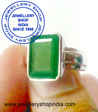 Emerald Gemstone Ring Designs for Men in Silver