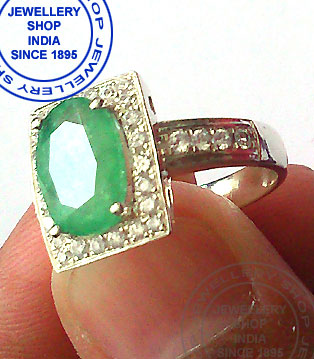 Emerald Gemstone Ring Designs in White Gold with Diamonds for Women
