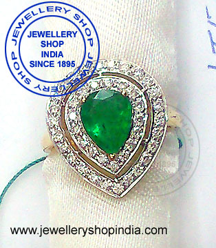 Emerald Gemstone Ring Designs with Diamonds in White Gold