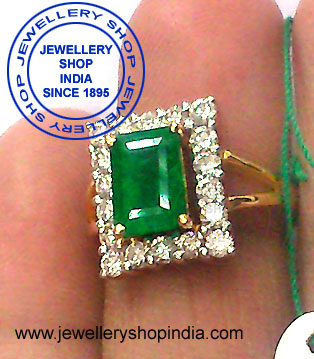 Emerald Stone Ring Designs with Diamonds in White Gold