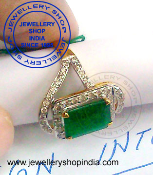 Emerald Gemstone Ring Designs with Diamonds in Gold for Ladies