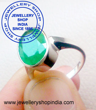 Emerald Gemstone Ring Designs in Silver