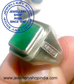 Emerald Gemstone Ring Designs for Man in Silver