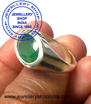 Emerald Gemstone Ring Designs in Silver for Man