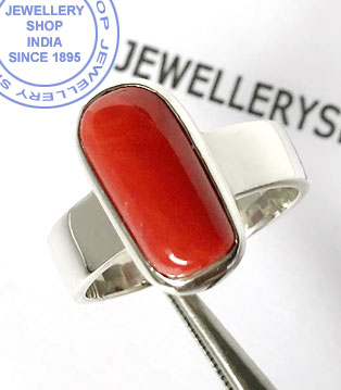 Jewellery Design Red Coral Ring in Silver