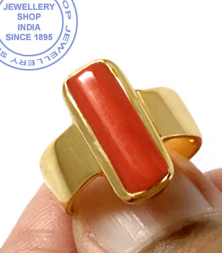 Jewellery Design Red Coral Ring in Gold