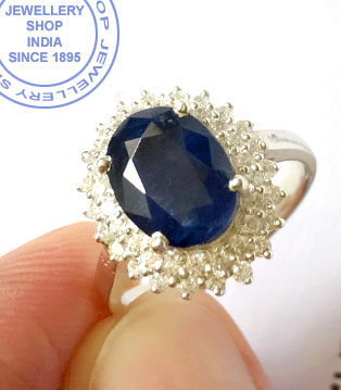 Jewellery Design Blue Sapphire Ring in Silver