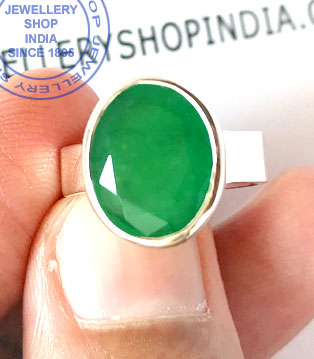 Jewellery Design Emerald Gemstone Ring in Silver