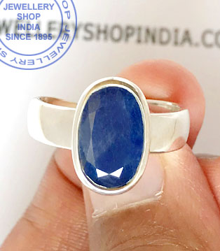 Jewellery Design Blue Sapphire Gemstone Ring in Silver