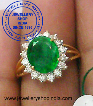 Diamond Ring Designs with Emerald Stone for Women in Gold