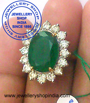 Emerald with Diamonds Ring Designs for Woman in Gold