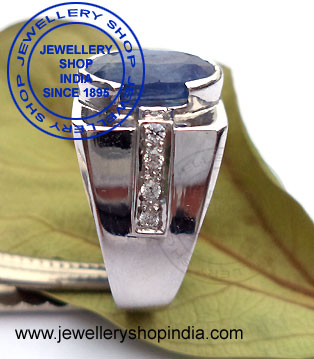 Gents Ring Designs in Blue Sapphire