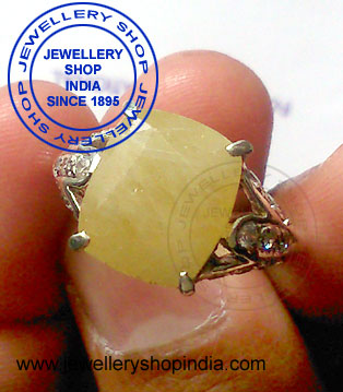 Yellow Sapphire with Diamonds Ring Designs for Woman