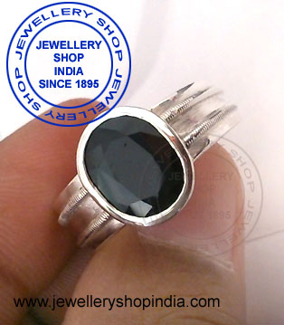 Blue Sapphire Stone Ring Design in Silver for Gents