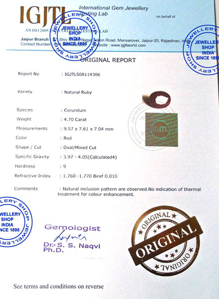 International Gemstone Lab Certificate